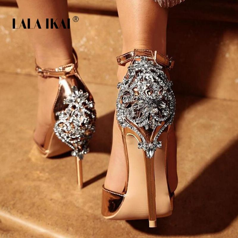 ab58ce818 LALA IKAI Women Crystal Glitter Sandals Pump 2018 High Heels 11CM Sandals  Lady Chic Cover Heel Party Sexy Shoes 014C1195 4 Platform Sandals Wedges  Shoes ...