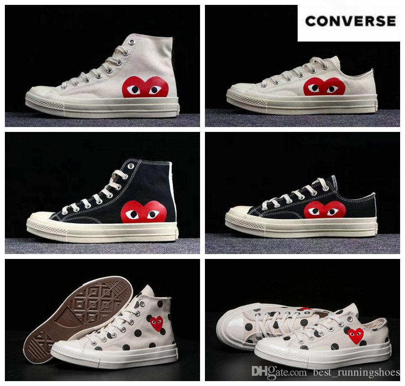 c33b9fe64bec 2019 2019 Skate Shoes 1970s Classic Canvas Casual Play Jointly Big Eyes  High Top Dot Heart CDG Wmens Men Fashion Designer Sneakers 35 45 From ...