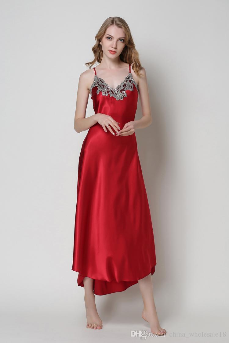 c4e605b0d7 2019 Ladies Sexy Silk Satin Nightgown Sleeveless Nighties Long Nightdress V  Neck Sleep Shirt Summer Night Dress Nightwear For Women From  China_wholesale18, ...