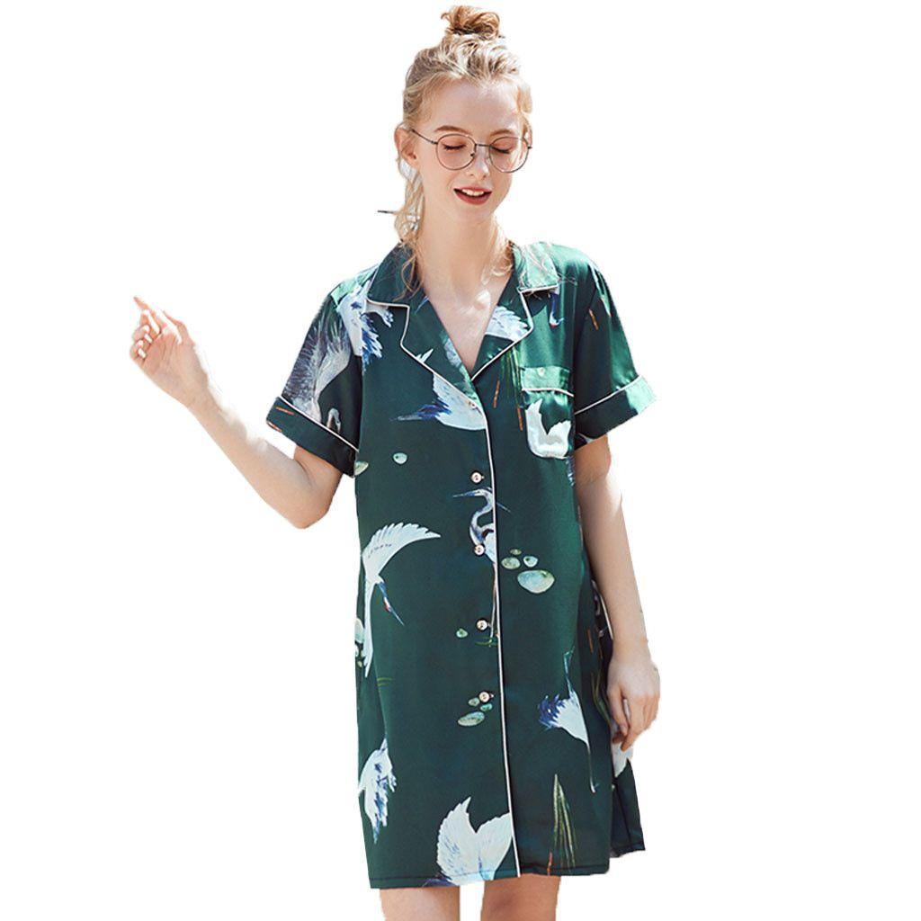 1da20745a8 2019 Pajamas Sets Silk Women Nightgowns Women Summer Short Style ...