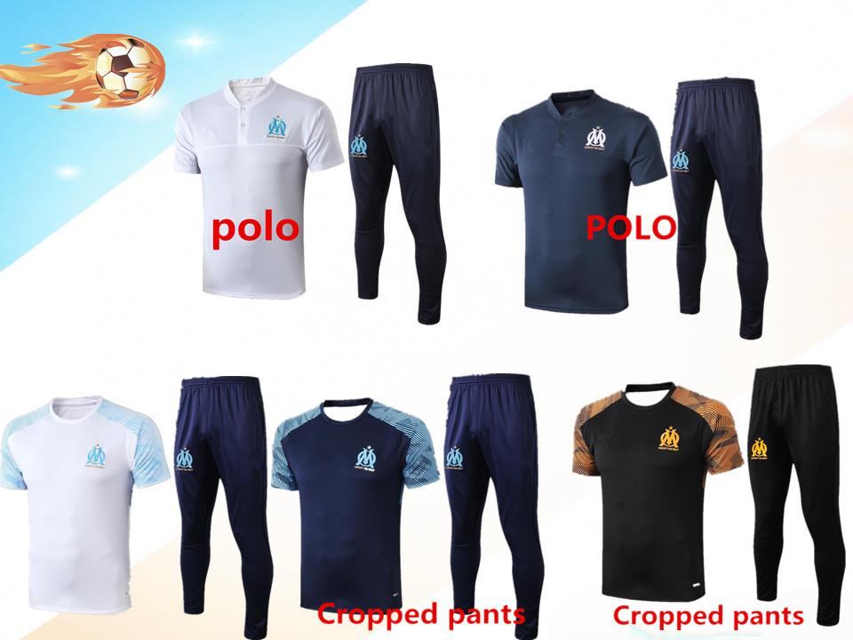 2020 Olympic Marseille short sleeve POLO tracksuit football training suit Maillot De Foot 19 20 PAYET THAUVIN OM football POLO jogging train