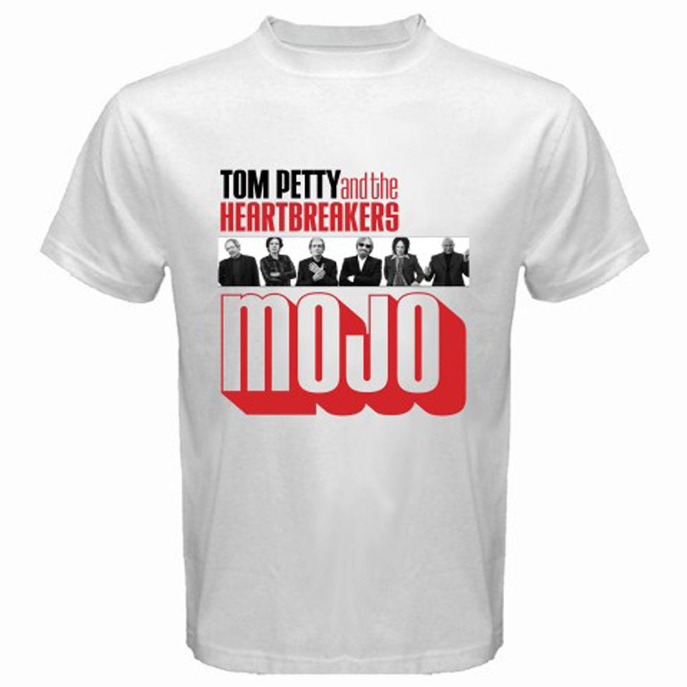 13dfcadee Tom Petty and The Heartbreakers MOJO Tour Logo Men's White T-Shirt Size  S-3XL High Quality Custom Printed, Tops Hipster Short Sleeve