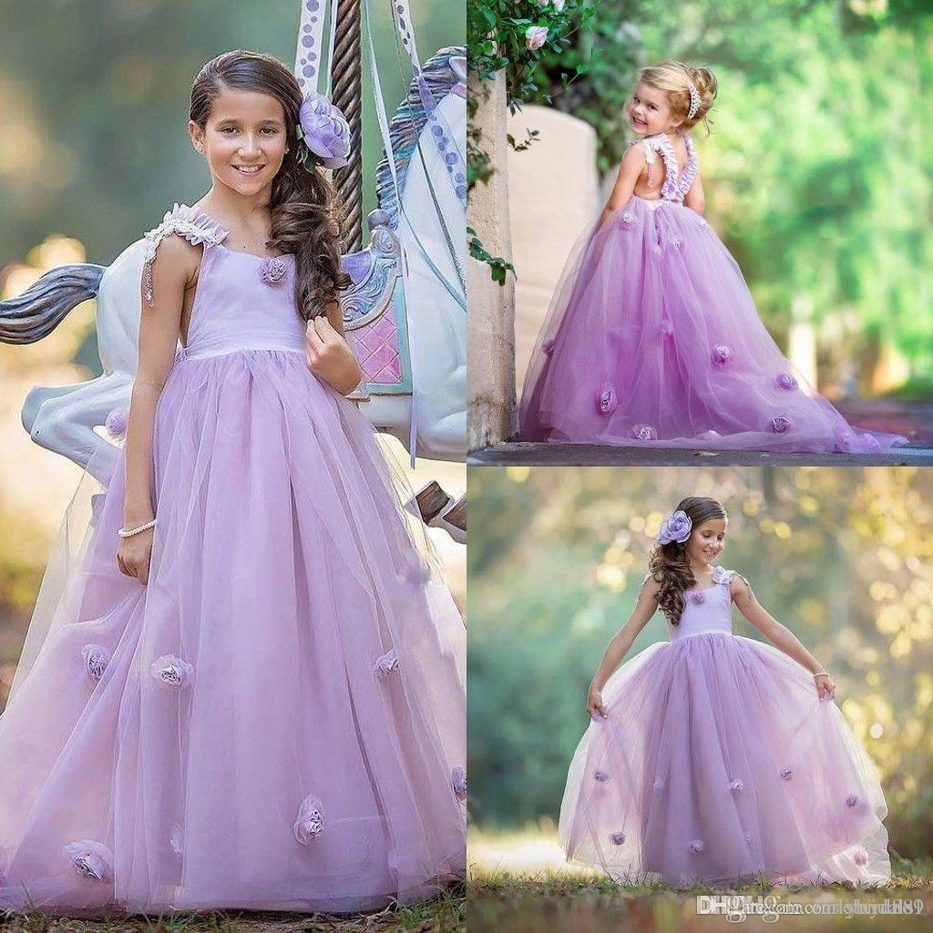 Lavender Girls Pageant Gowns Lace Applique Sleeveless Flower Girl Dresses For Wedding Purple Tulle Puffy Kids Communion Dress