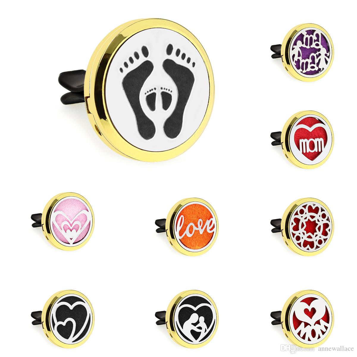 30mm gold Magnet mom and son heart Car Diffuser Essential Oil Car Perfume Locket Vent Clip Car air freshener 10pcs free pads