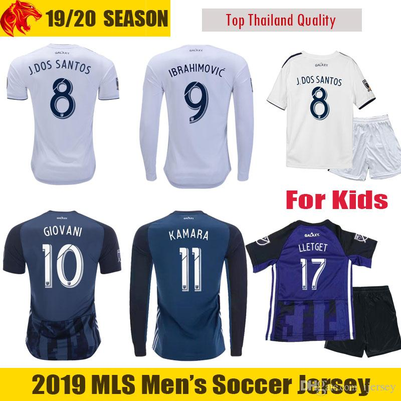 sale retailer ce37d 69df6 19 20 LA Galaxy Soccer Jerseys 2019 LLETGET Kids & Mens LA Galaxy Long  Jersey IBRAHIMOVIC Football Shirt Fans Player Version GIOVANI Jersey