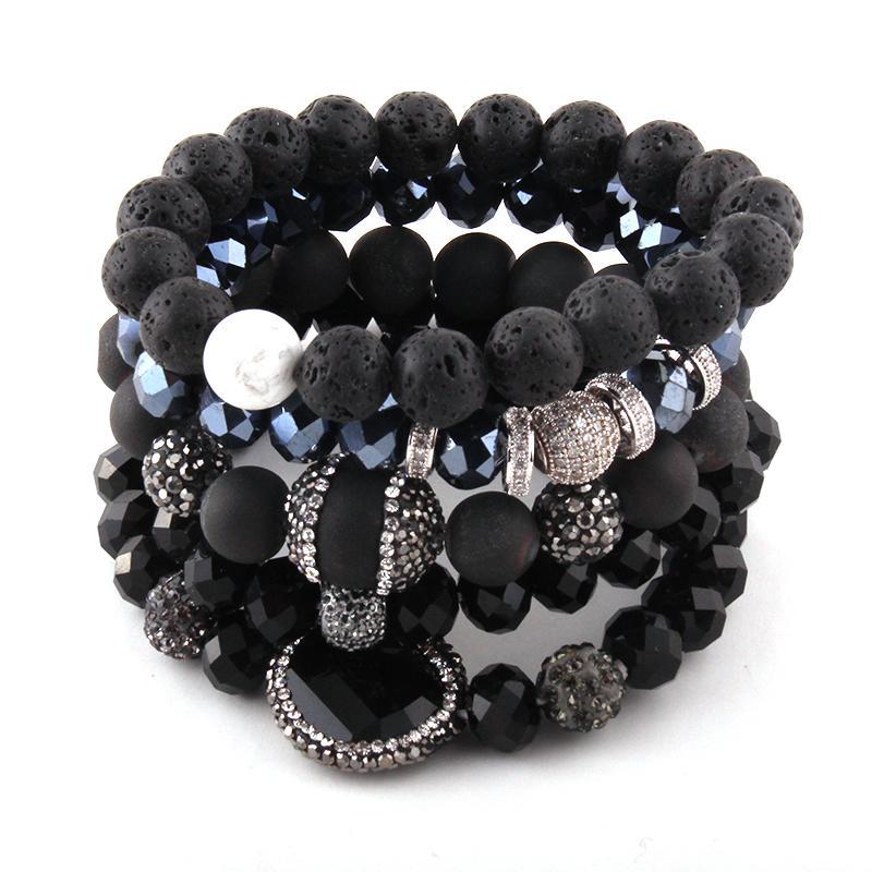 7ea6537872a9 Moda Hermosa Negro Pulsera Conjunto Piedra Natural Cristal Cristal  Pavimenta Pulseras Conjunto de 5 piezas