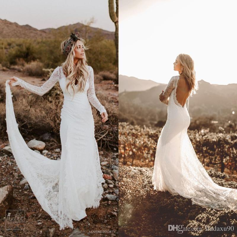 Rustic Country Mermaid Wedding Dresses with Long Sleeves Modest Vintage Backless Bohemian Lace Bridal Wedding Gown Usa robe de mariée
