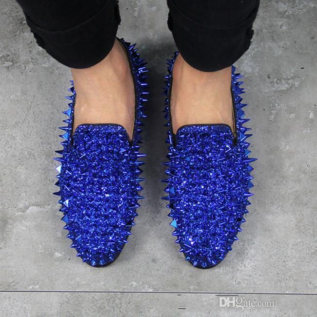ef4cecc8869 Hot Brand Designer Prom Wedding Shoes Men Shining Glitter Spiked Loafers  Men Rivet Studded Shoes Casual Blue Green Black Red Silver Gold