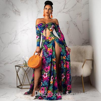 7db406c5913 Women Off Shoulder Long Sleeve Tie Up Cut Out Front Floral Print Maxi Dress  High Split Beach Club Sexy Long Dresses Prom Dresses On Sale Dresses Sale  From ...