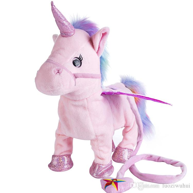 New hot selling Leash unicorn plush doll can call walk twist the butt Stuffed Animals electric plush toys children's Christmas gifts!#86