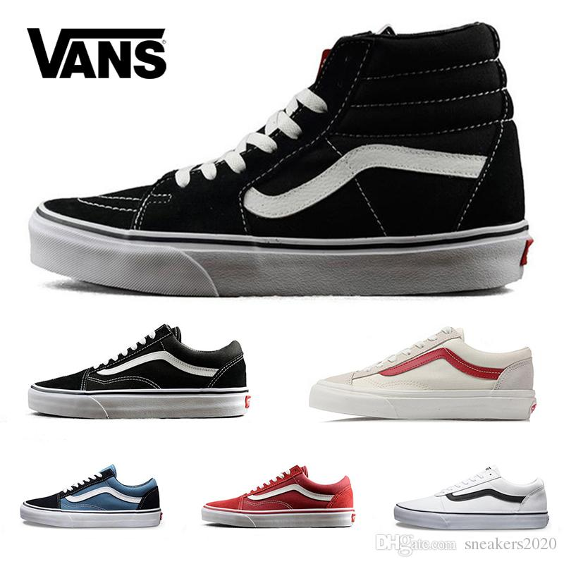 1f8baa404d 2019 Vans Old Skool Sk8 Casual Shoes Canvas Sneaker For Men Women Black  White Red YACHT CLUB MARSHMALLOW Outdoor Skateboard Shoes Size 36 44 From  ...