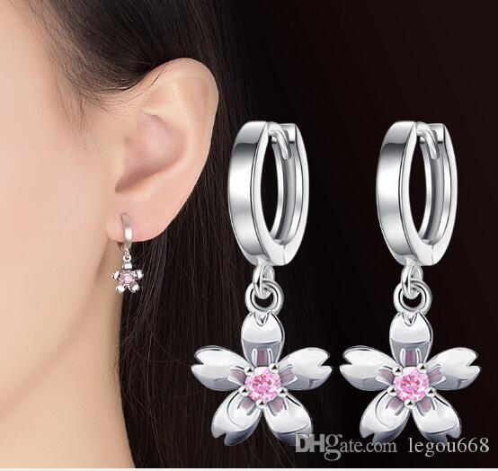 Lovely little fresh temperament silver plated Korean version fashion simple small cherry flower ear nail female flower ear ornament W1110