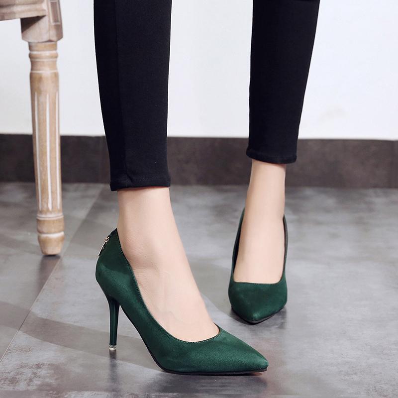 43adec35 Compre Nuevas Bombas De Mujer Zapatos De Mujer De Marca Tacones Altos Sexy  Punta Estrecha Fondo Rojo Tacones Altos Zapatos De Boda Zapatos De Oficina  Para ...