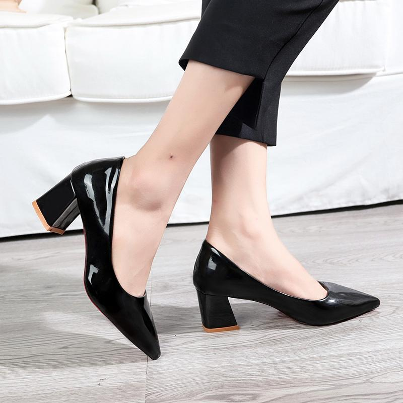 46509394e23 Dress Shoes Eoeodoit Women Med High Chunky Heel Slip On Shallow Mouth Patent  Leather Pumps Pointy Toe 2019 Autumn New Arrival 6 Cm Black Shoes Nude Shoes  ...
