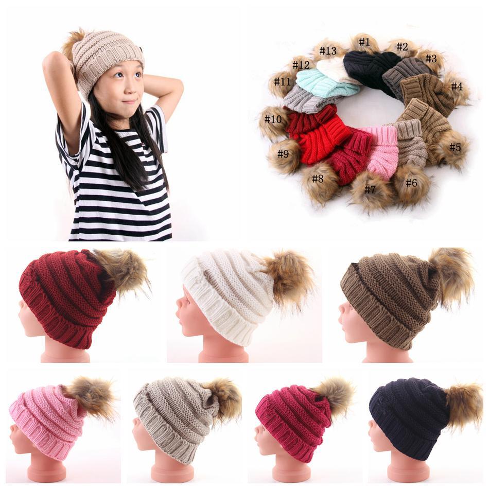 Kids Pom Pom Beanies Knitted Fur Poms Cable Slouchy Skull Caps ... 8795e57abd26