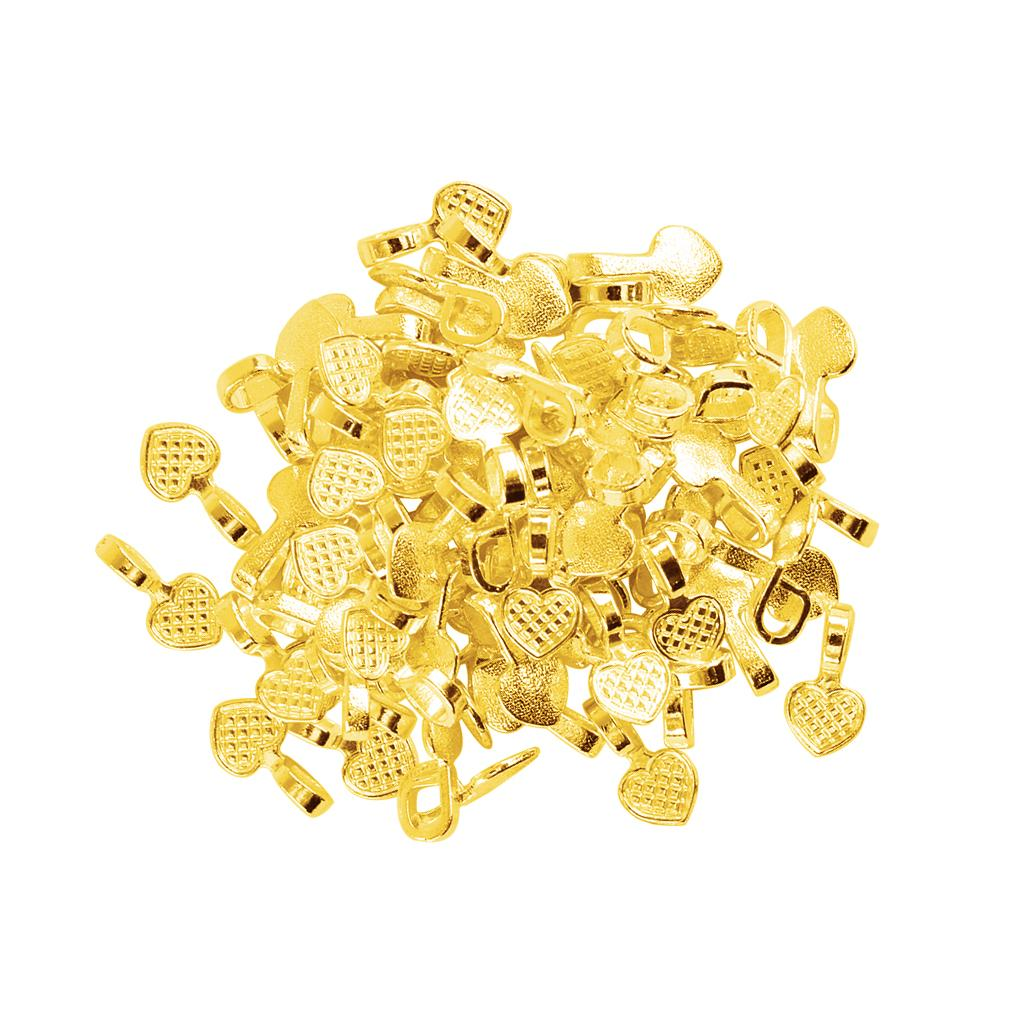 100 Pieces Wholesale Shiny Gold Heart Glue on Bails Setting For Tile Glass Necklaces Earrings Pendant Making Crafts