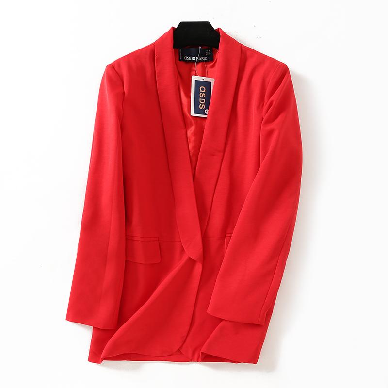 2018 women casual blazers office lady coat Red black white 3color SML no button Shawl collar Pocket TR poly viscose drop ship Y190925