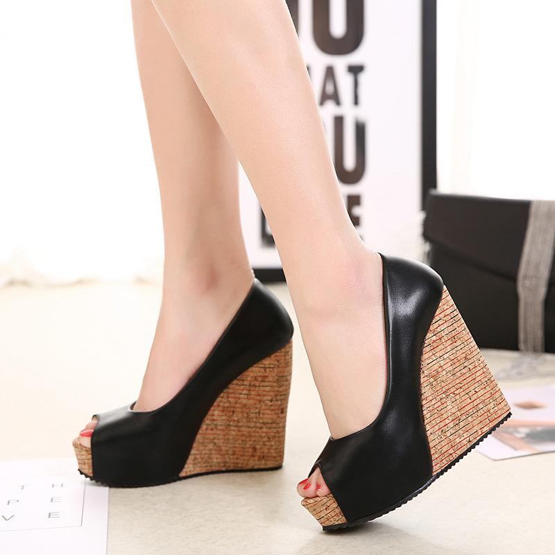 Fish Xiang Wan One Year Fashion2019 Waterproof Platform Slope Single Shoe Woman Shallow Mouth High With Women's Shoes