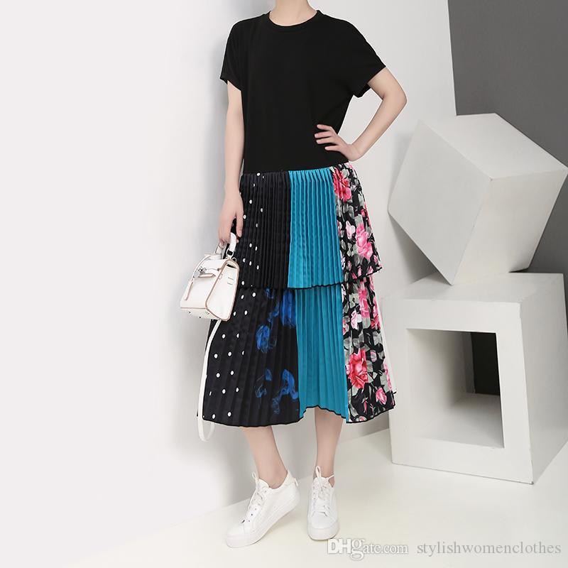 2019 Korean Style Women Summer Long Black Patchwork Pleated Dress Colorful Ruffles Hem Ladies Party Club Dress Robe Femme F1016