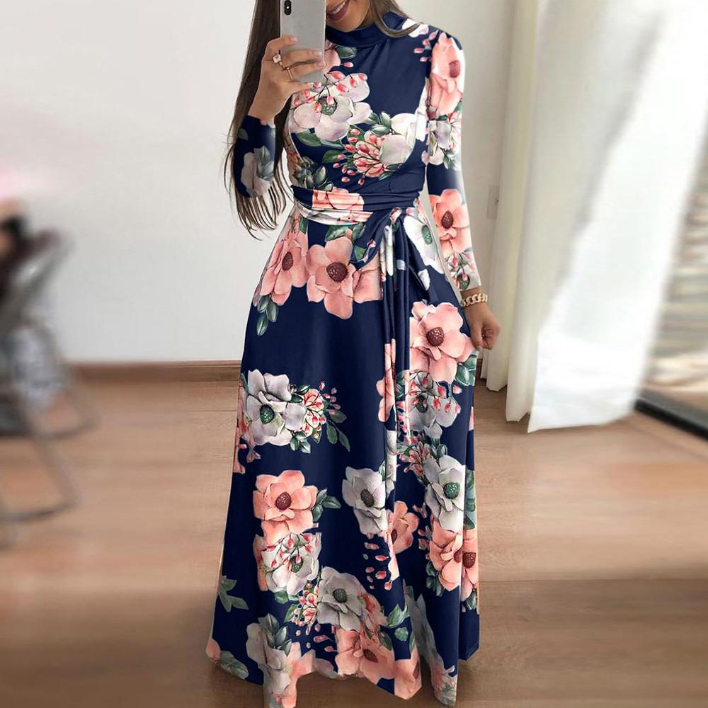 8247c189077e Floral Printed Dress Women Multicolor Vacation Boho Bohemian Turtleneck Long  Sleeve Belted Autumn Maxi Dresses  EP Black Dresses Casual Black And Gold  ...