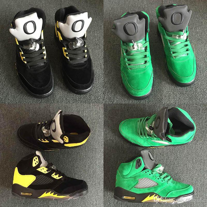 on sale 9c1fb 62c68 2019 New Men 5 Oregon Ducks Basketball Shoes For Sale Green Black Yellow 5s  Sneaker Shoe Sports Trainers Mens Fashion Shoe Shoe Shops Cheap Basketball  Shoes ...
