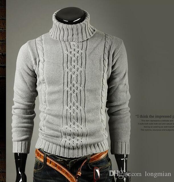 b787342bab8 Acheter Hommes Pull Hommes Marque Col Roulé Hiver Pull Homme Pull En ...