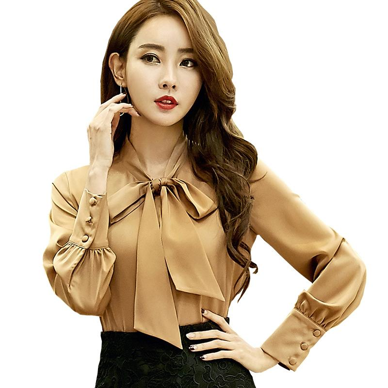 91d9e56a 2019 Bow Tie Design Lady Spring Blouses Women Fashion Ol Long Sleeve 2019  Girls Casual Career Solid Chiffon Blouses Shirts Re0270 From  Godblessus16388801, ...