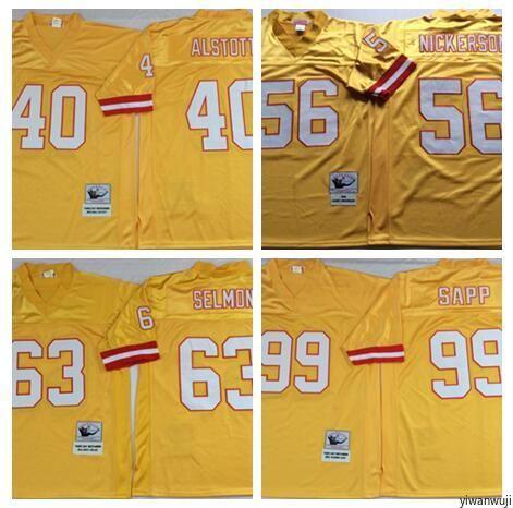 1562817df6c 2019 Throwback Tampa Bay #99 SAPP Football Jersey Buccaneers 63 SELMON 56  NICKERSON 40 ALSTOTT Vintage Yellow From Yiwanwuji, $28.43 | DHgate.Com