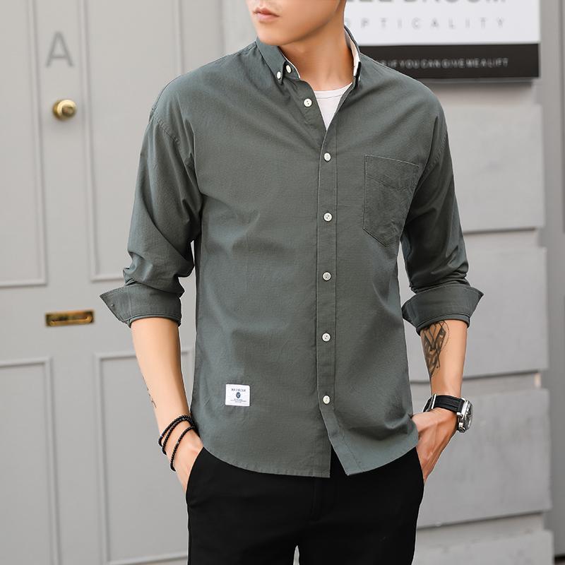 Compre 100% Algodão Nova Moda Outono Moda Masculina Clothing Slim Fit  Homens Camisa De Manga Longa Cor Sólida Camisa Social Casual De Wochanmei 353b676b011
