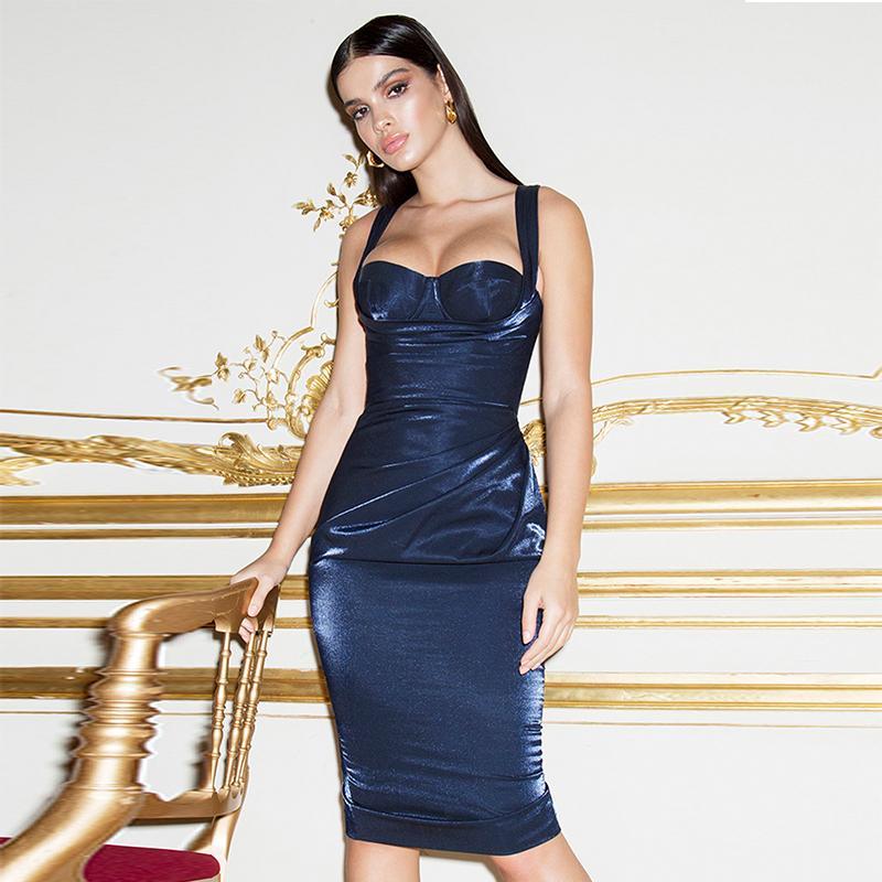 Mujeres Navidad Longitud Lady Sin de Tirantes Party Club Vestido Adquisiciones Corset Vestidos de Deer señoras Bodycon Sexy Rodilla Azul 2018 Drape Nuevas Elegante las de PRtIq1xw