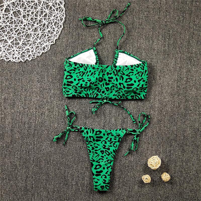 Preto Verde Leopard Fantasia Sexy Bikini Set acolchoado Bra Thong Thong Triângulo Mulher Swimsuit Push-up vestido praia brasileira Wear