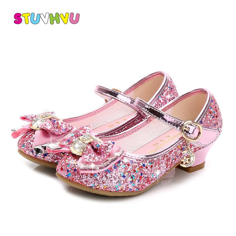 21312a0c2e4c Girls Shoes 2019 Spring Girls Small High Heels Fashion Sequin Bow Children's  Dance Shoes Pink Blue Gold Silver Princess Shoes J190508