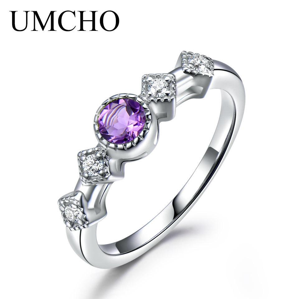 065dbeb26 Umcho Natural Amethyst Gemstone Engagement Rings For Women Solid 925 ...