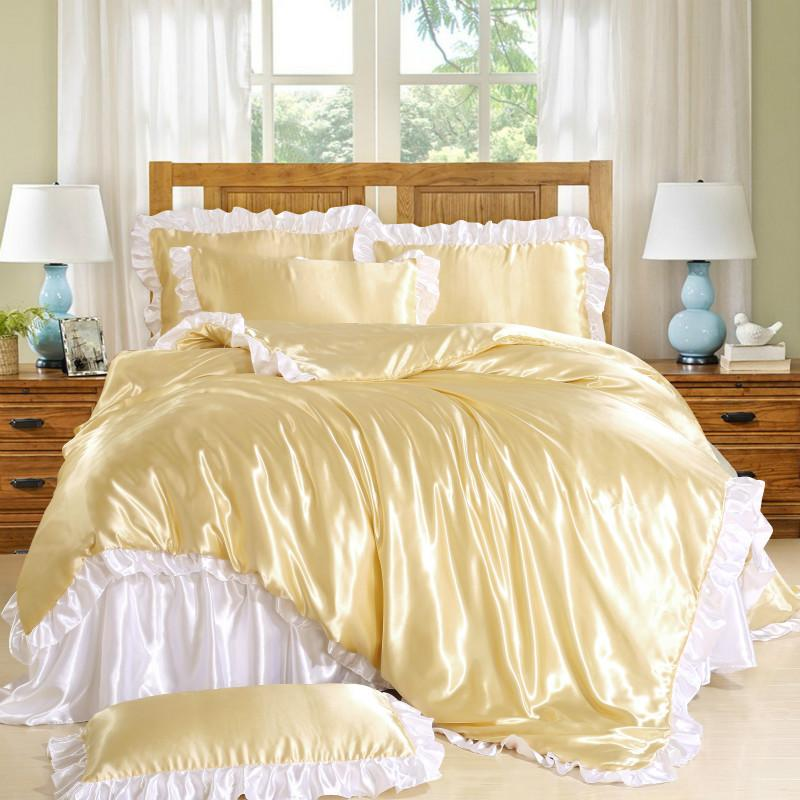 6 Colors Luxury Princess Palace Bedding Wholesale Price Satin Silk Pink Gold White Bedsheet Duvet sets 50%discount