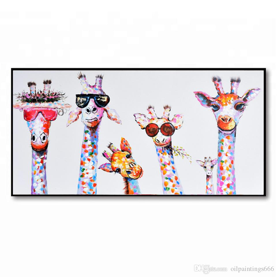 Giraffe Cartoon Art Oil Painting Painted On Canvas Framed Animal Abstract  Wall Art Living Room Children s Bedroom Wall Decor