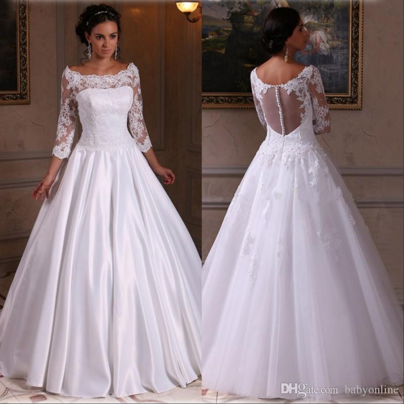 2fe0772852bcff Vestido De Noiva Cetim Sheer Bateau Decote Branco Vestido De Noiva De Cetim  Com Mangas 3/4 Até O Chão Vestido De Princesa Vestido De Noiva Com Volta  Pura ...