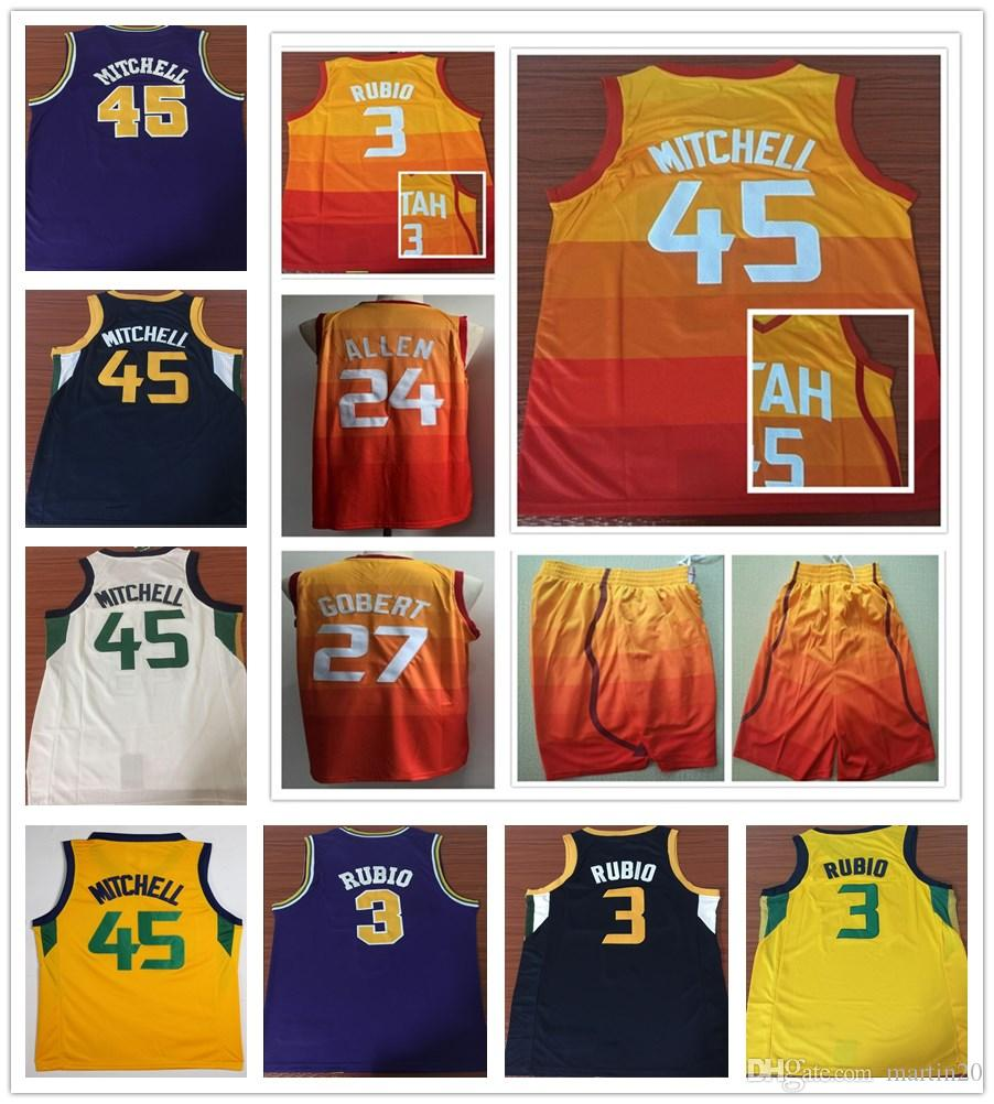 Stitched New City Edition 45 Donovan Mitchell Jerseys Purple Orange ... 4c5a4a16d