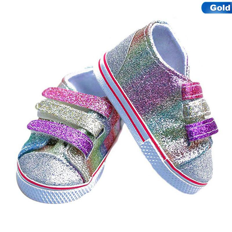 Fashion Sequins Shoes Fits 18 Inch Doll 43CM Dolls Baby Doll DIY Shoes For American Girl Boots Golden Color Random