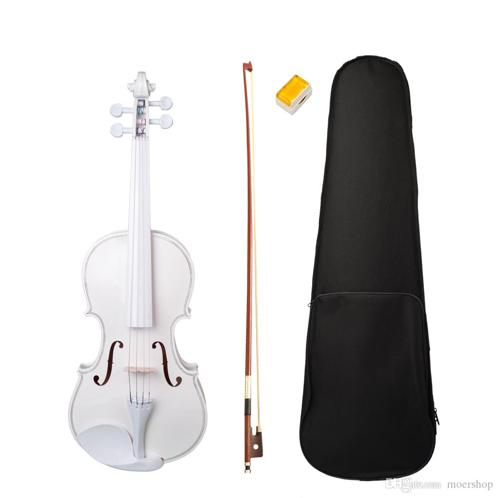 Student Violin 4/4 Full Size Fiddle White Violin SET For Kids Beginners 4/4 Student Violin W/Case Row Rosin New