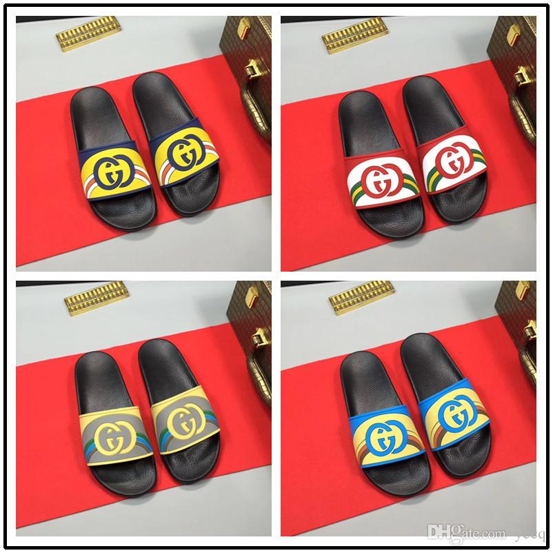 57a5494b2 Men Slippers Summer Beach Male Slides Women Non Slip Flip Flops Striped  Style Outdoor Indoor Sandals For Couple Soft High Heel Shoes Designer Shoes  From ...