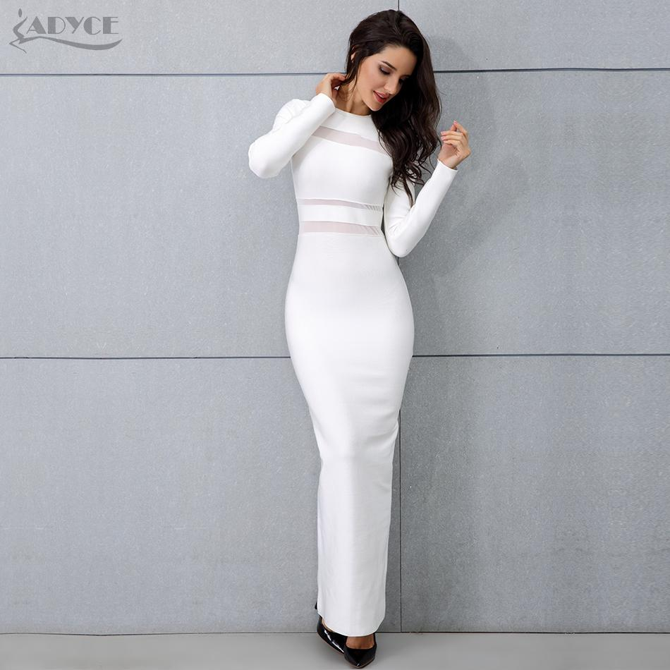 c32c362ab 2019 Adyce 2018 New Women White Long Sleeve Maxi Dress Sexy Winter Long  Runway Dress Vestidos Nightclub Celebrity Party Dresses From Heymonster03