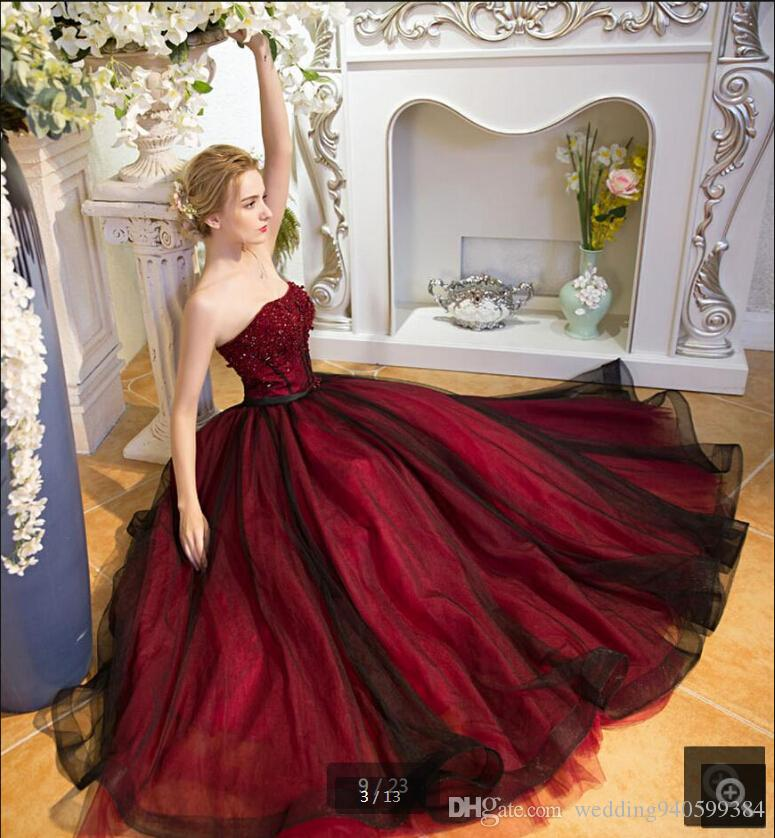 6ca2a64e0a8e New Designer 2019 Black Burgundy A Line Beading Prom Dress Real Picture  Stylish Sashes Sweetheart Neck Lace Up Formal Prom Gowns On Sale Beautiful  Gowns ...