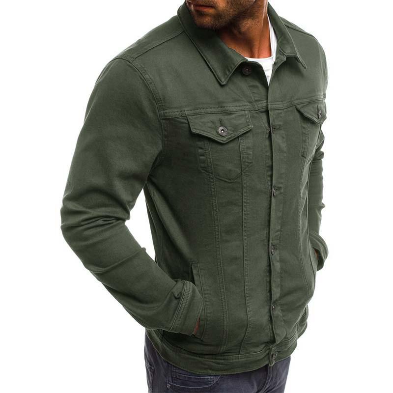 quality design 2c4a2 a3f67 Primavera Uomo Casual Giacca in denim Slim Fit Solid Tactical Jacket Verde  Uomo manica lunga Turndown Collar Coat Uomo