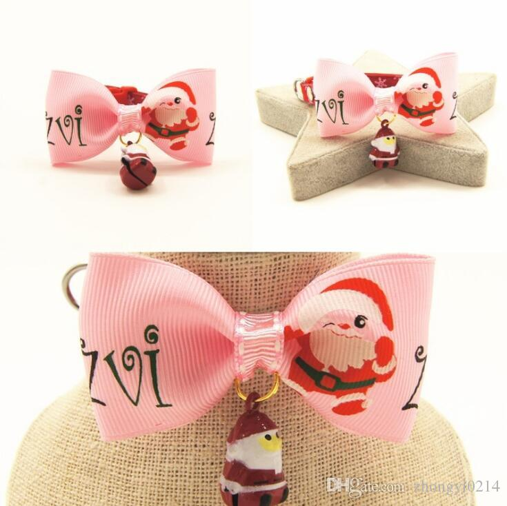 Christmas pet accessories Dog pulls pet collar bow Santa Claus bell tie free shipping 082402
