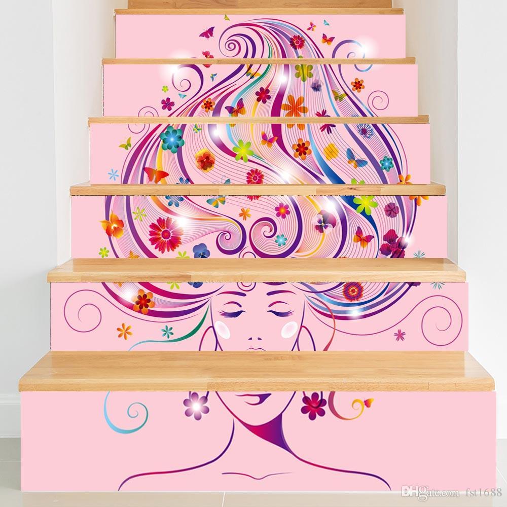 Creative diy steps stair sticker salon hair flower scenery wallpaper pvc beautiful girl vinyl decal art landscape home decoration custom wall stickers