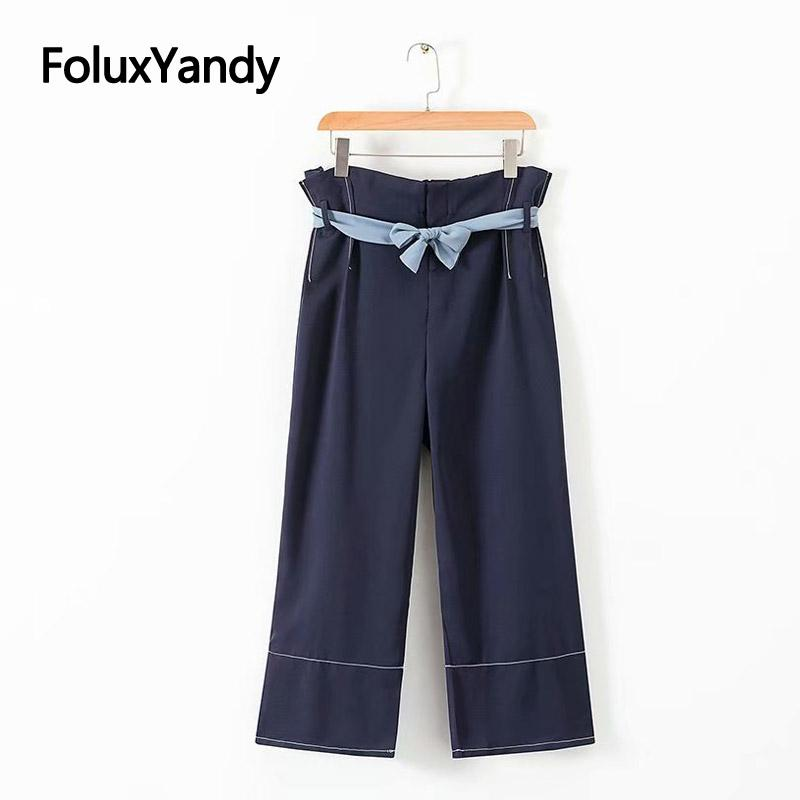 d3b57bddc273 2019 Chiffon Wide Leg Pants Women Navy Blue Trousers Plus Size XXXL 5XL  Casual Loose Bow High Waist Pants KKFY3142 From Cfendou, $30.33 | DHgate.Com