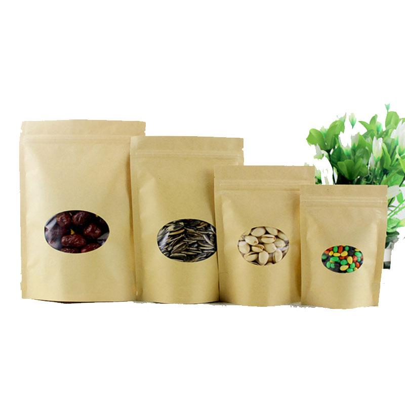 50pcs round brown kraft paper bags for gifts/candy/tea/food/wedding with window stand up zipper kraft bags crafts Packing bag