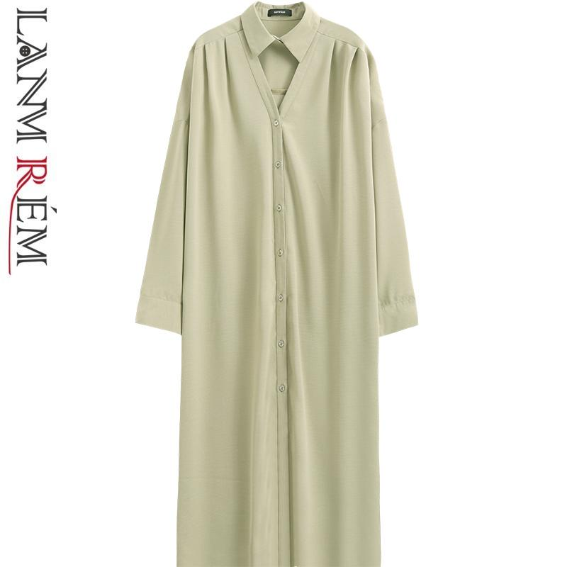 LANMREM 2019 New Fashion Hollow Turn Down Collar Large Size Shirt Type Dress Donna Manica lunga Allentato Casual Vestito nero YG320