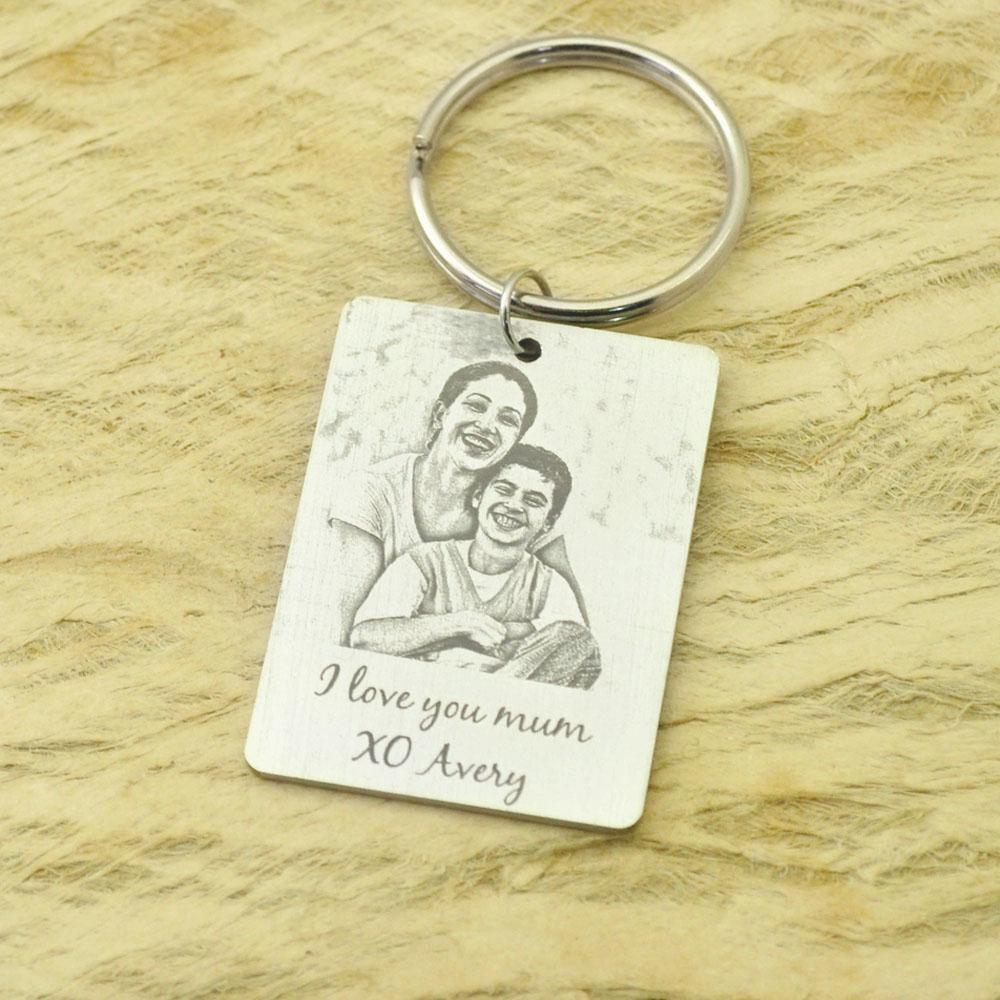 Custom Photo Keychain keepsake Picture Key Ring Engraved Photo Keychain Christmas Gift for Her/Him Jewelry