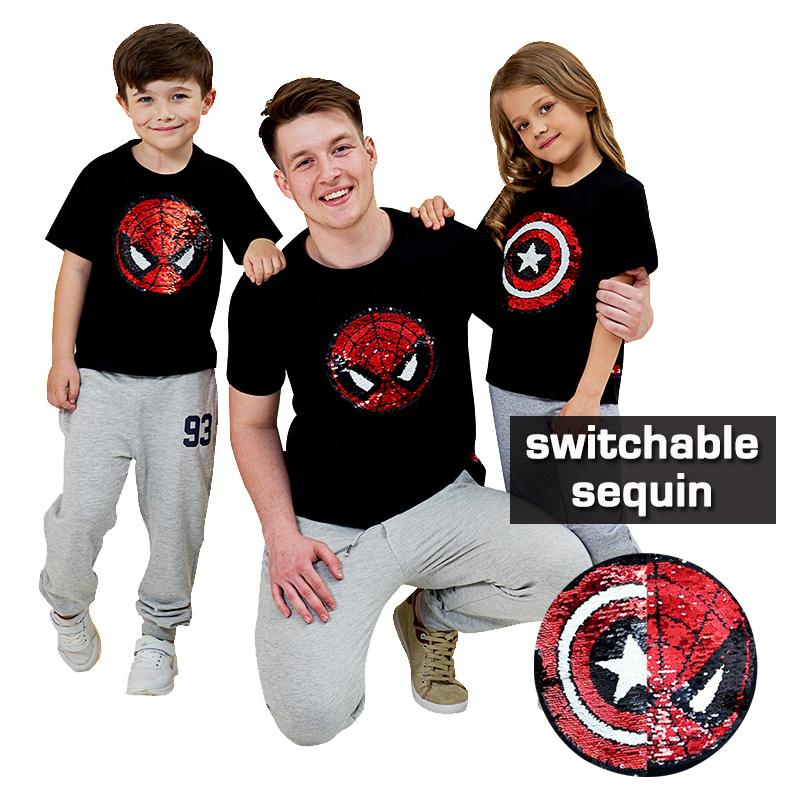 01ef20f2 2019 Children Summer Cotton T Shirt Spiderman Switchable Sequin ...